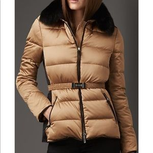 Burberry London rabbit fur trim technical puffer